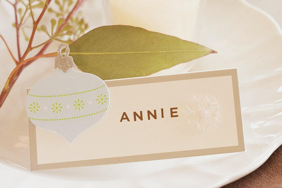 Christmas place-setting with place card