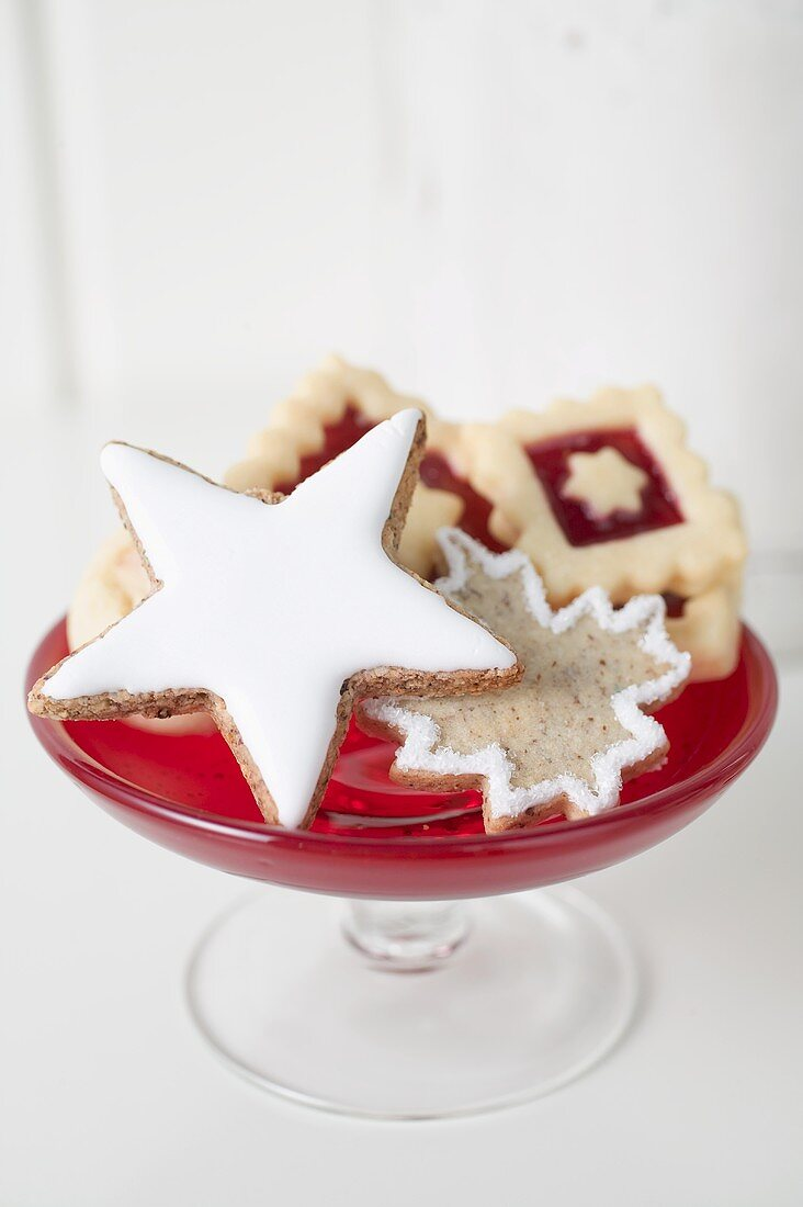 Assorted Christmas biscuits in glass pedestal dish