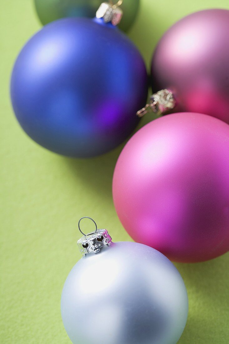 Christmas baubles of various colours
