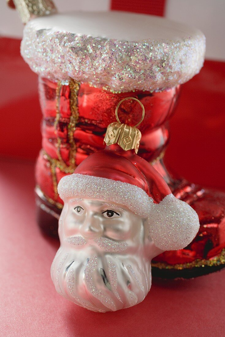 Christmas tree ornaments (red boot, Father Christmas)