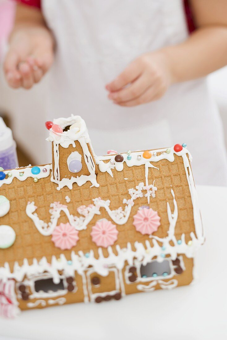 Child decorating gingerbread house
