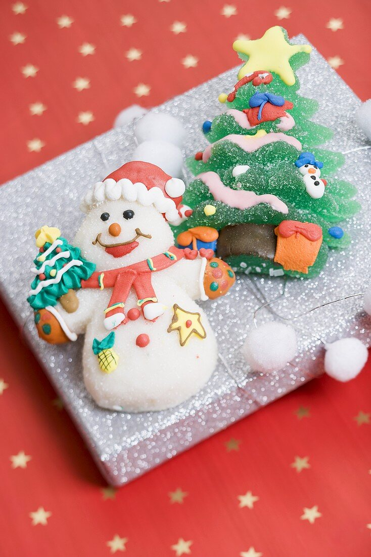 Christmas sweets on silver box
