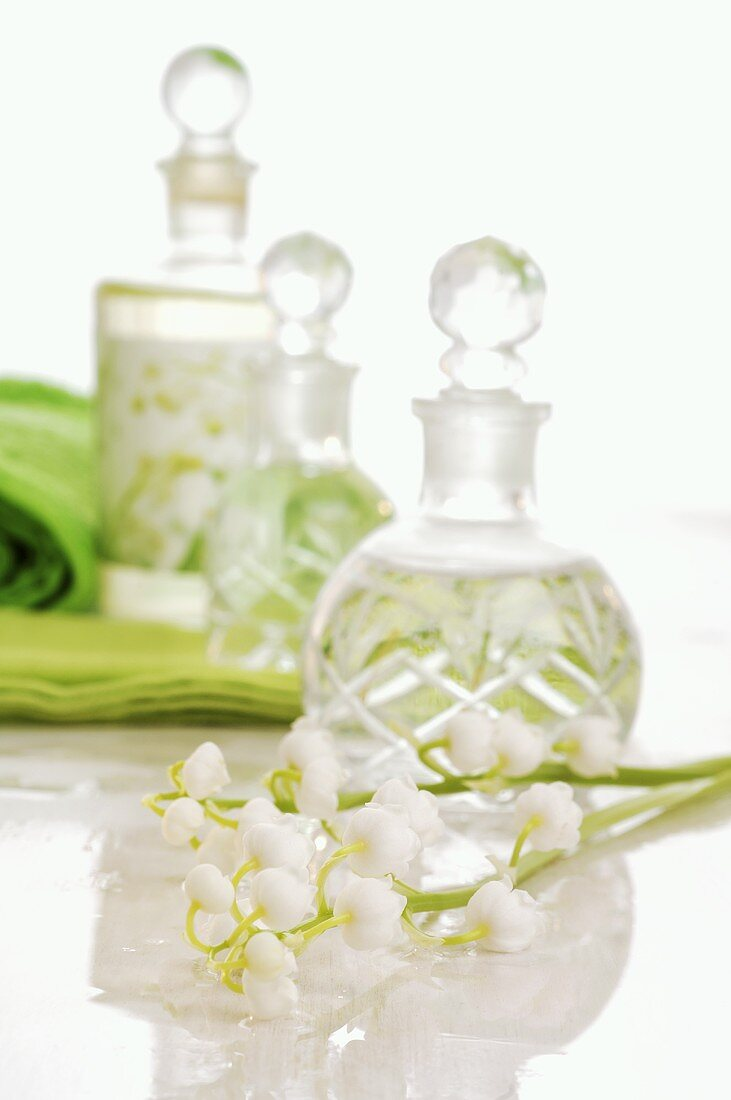 Lilies of the valley and small bottles