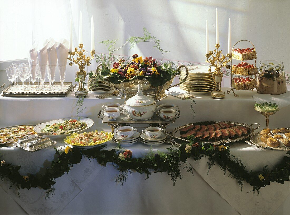 Party Buffet with Roastbeef; Salads; Clear Soup