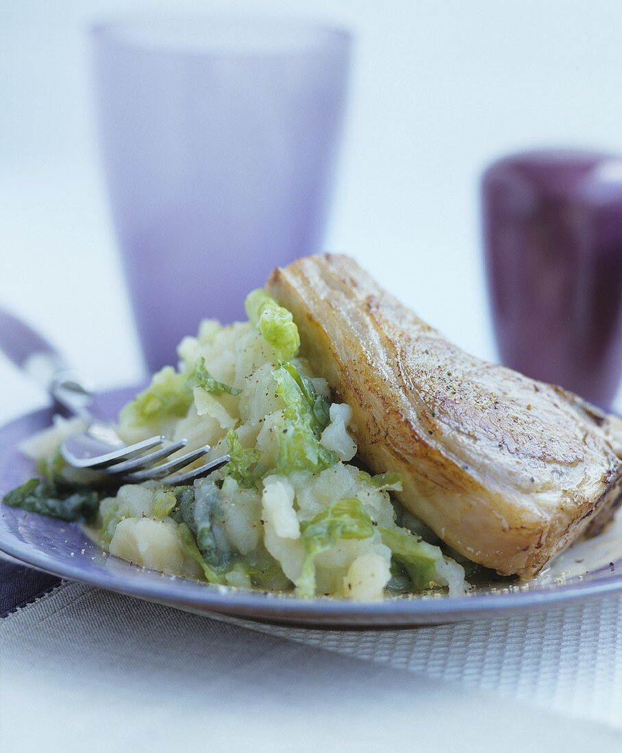 Chop with colcannon (Mashed potato and cabbage, Ireland)