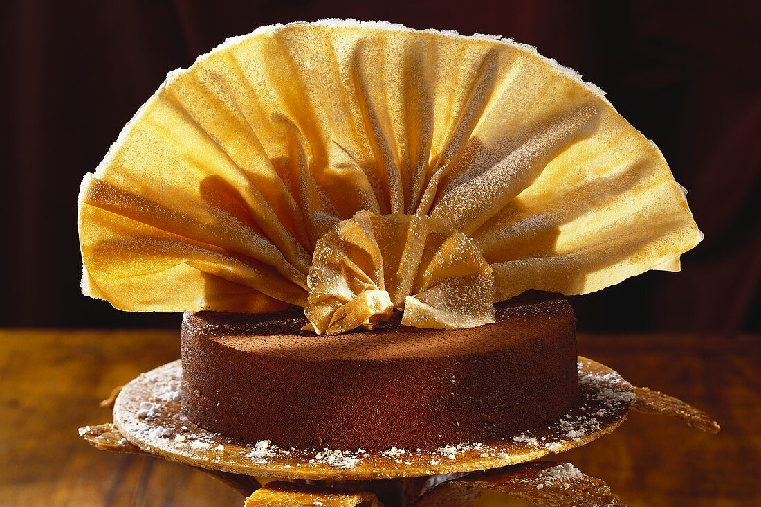 Sacher torte with wafer fans