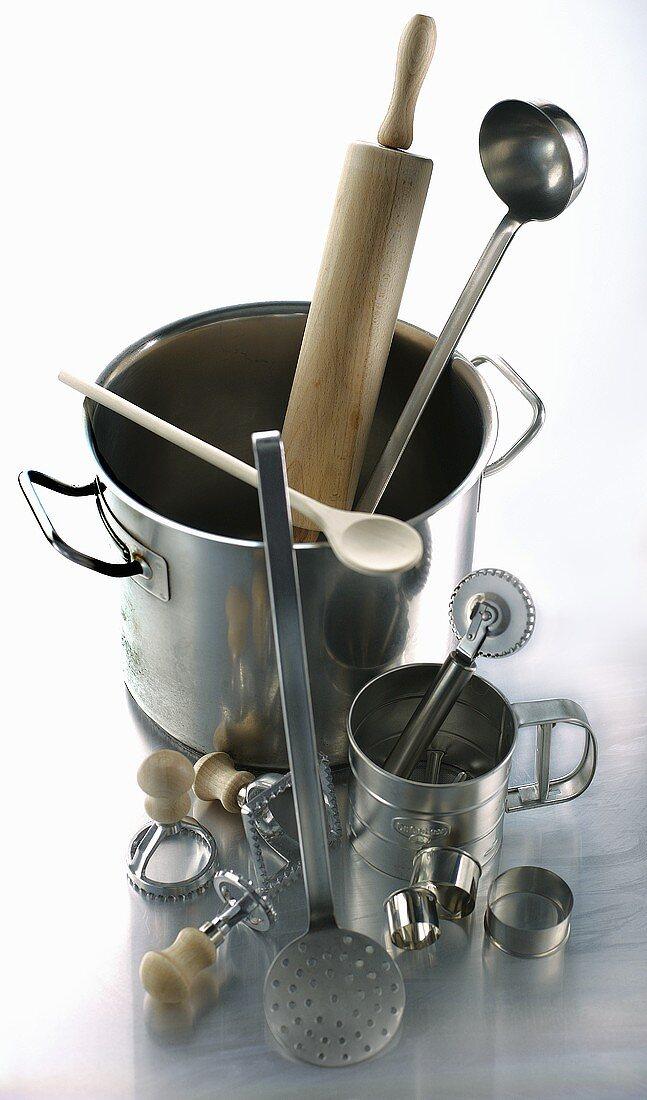 Various utensils for making pasta dishes