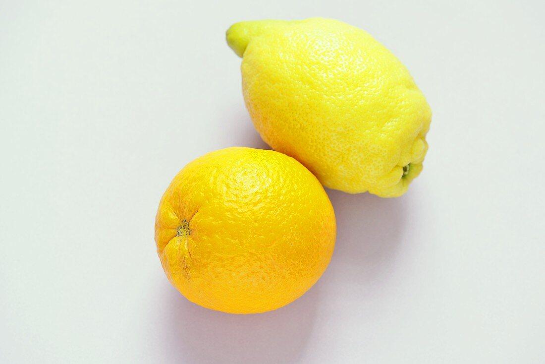 A lemon and an orange