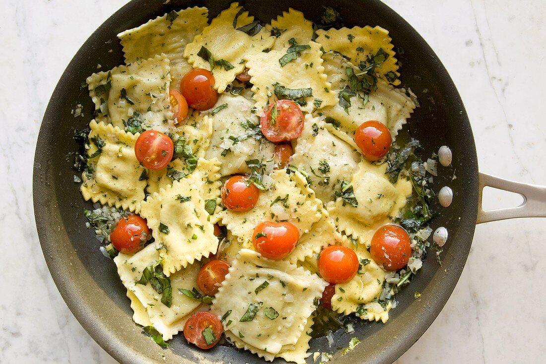 Tomato Basil Ravioli in a Pan