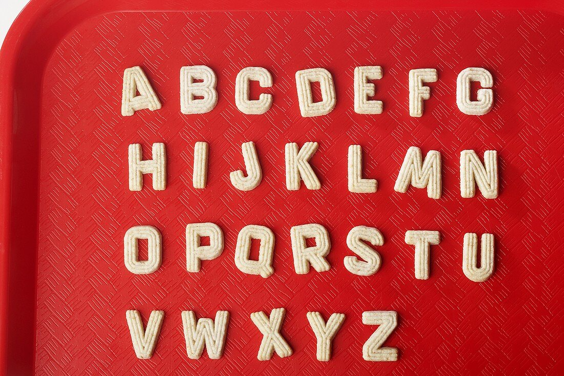 Alphabet Sugar Cookies on Lunch Tray