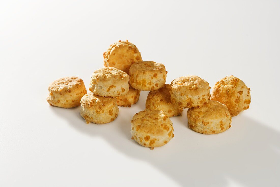 Mini Cheese Biscuits on White