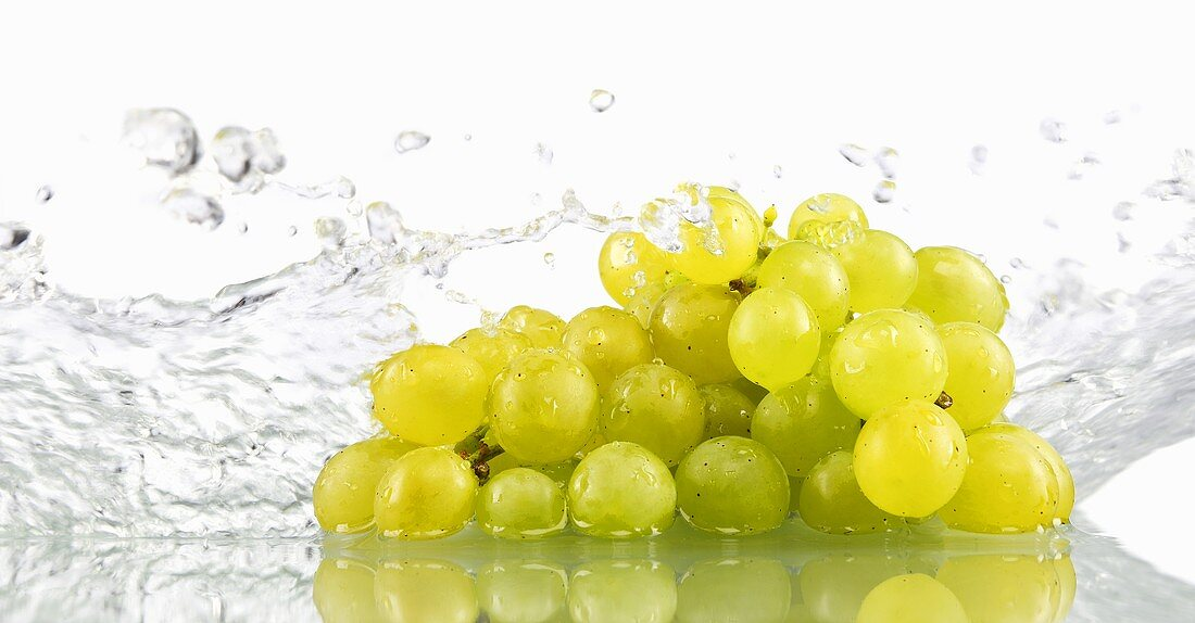 Green grapes being washed