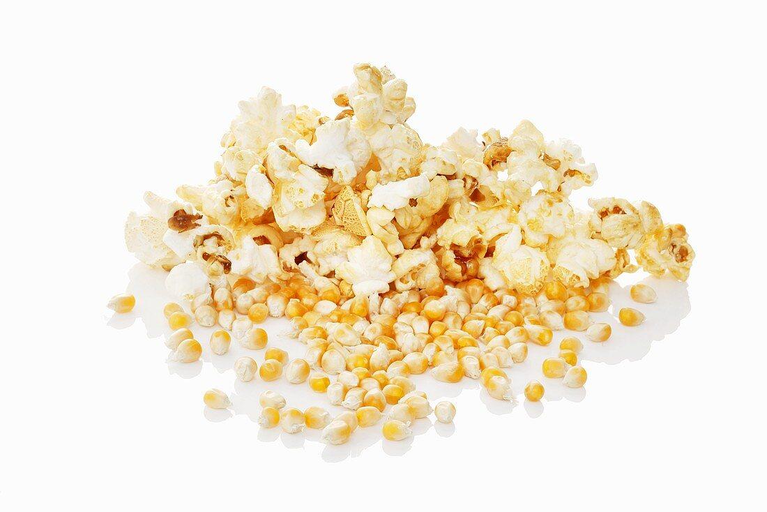 Popcorn and corn kernels