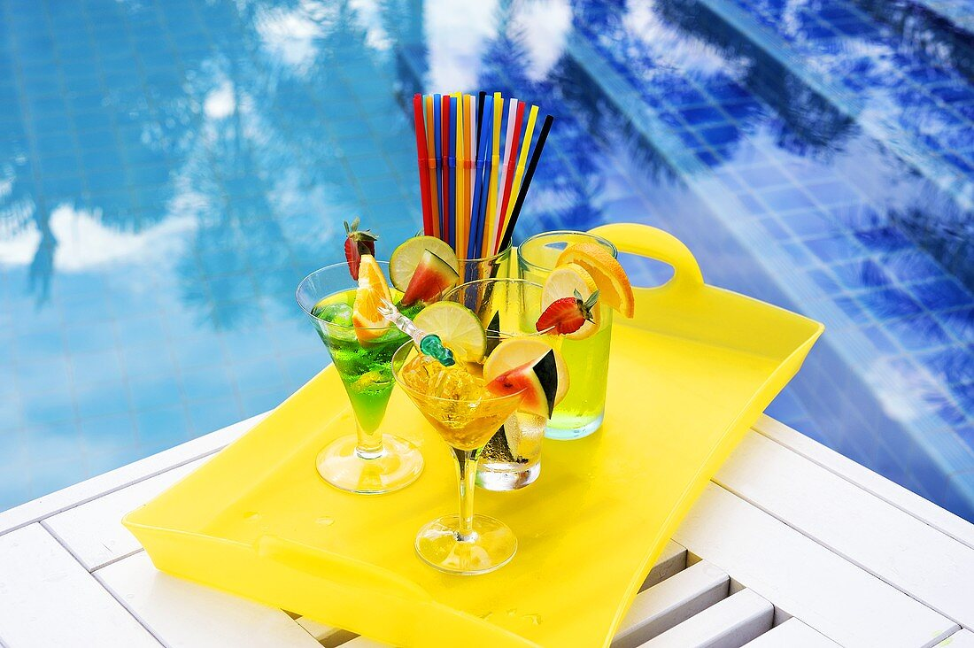 Summer cocktails at the poolside