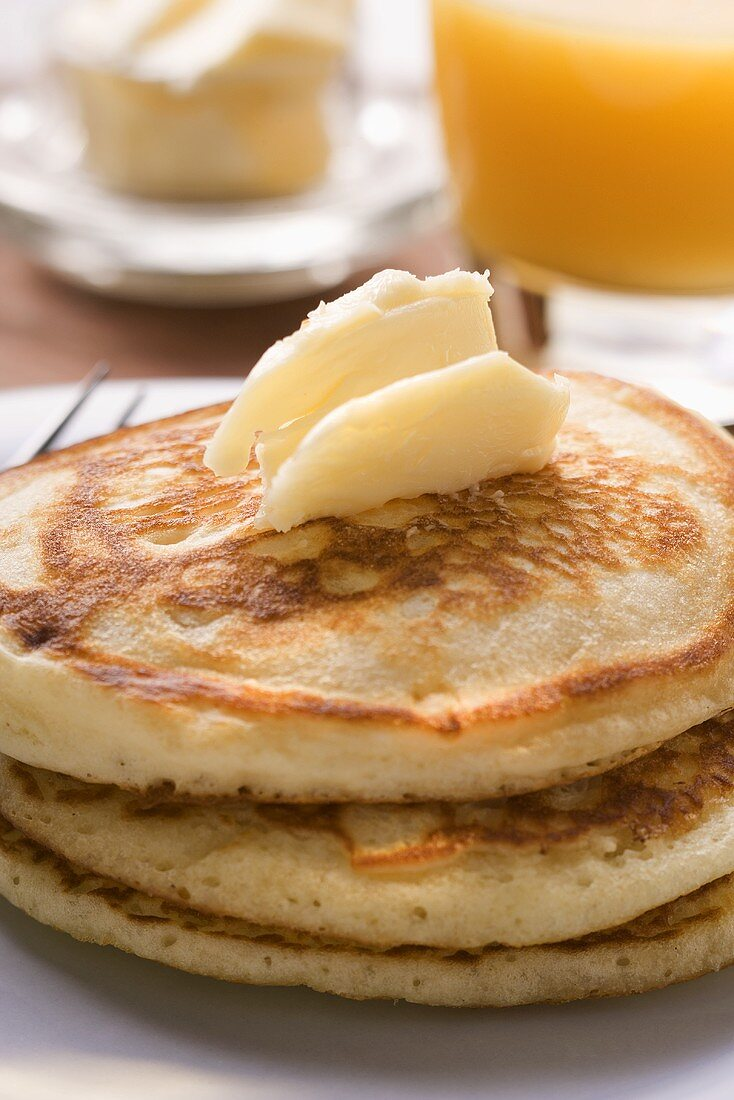Pancakes with butter curl for breakfast