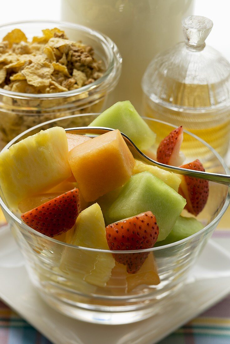 Fruit Salad Cereal And Honey For A License Images 940822 Stockfood