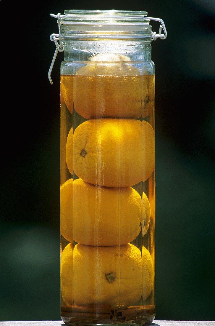 Jar of Homemade Orange Liqueur
