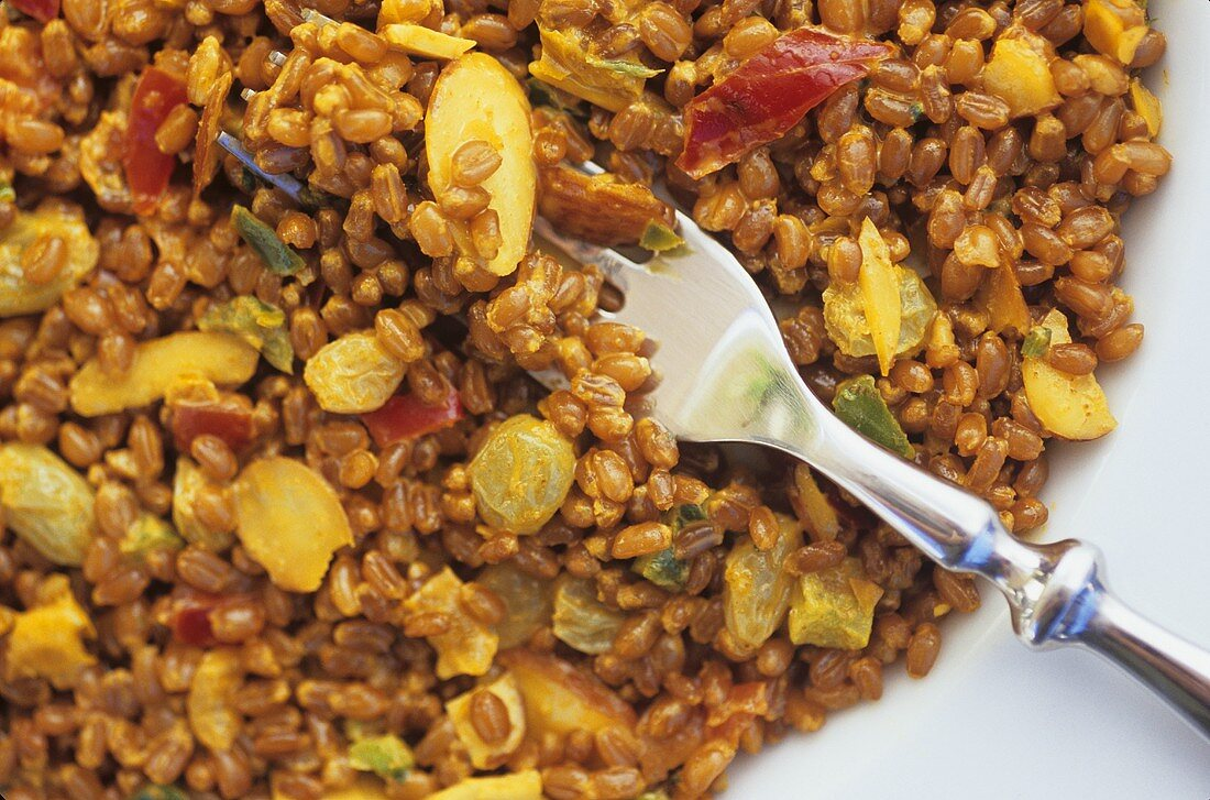 Curried Wheatberry Salad with a Fork