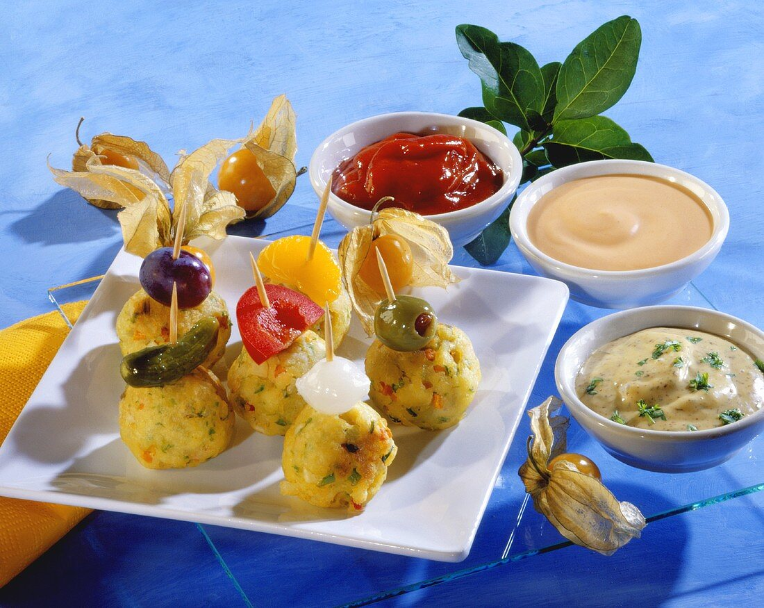 Potato and vegetable balls with three dips