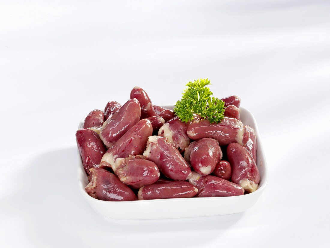 Chicken hearts in a dish