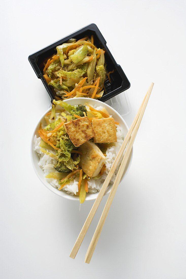 Stir-fried vegetables with fried tofu