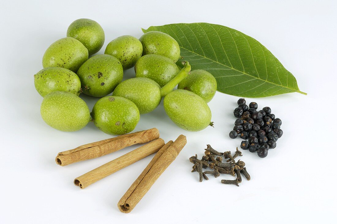 Walnuts and spices for making bitters