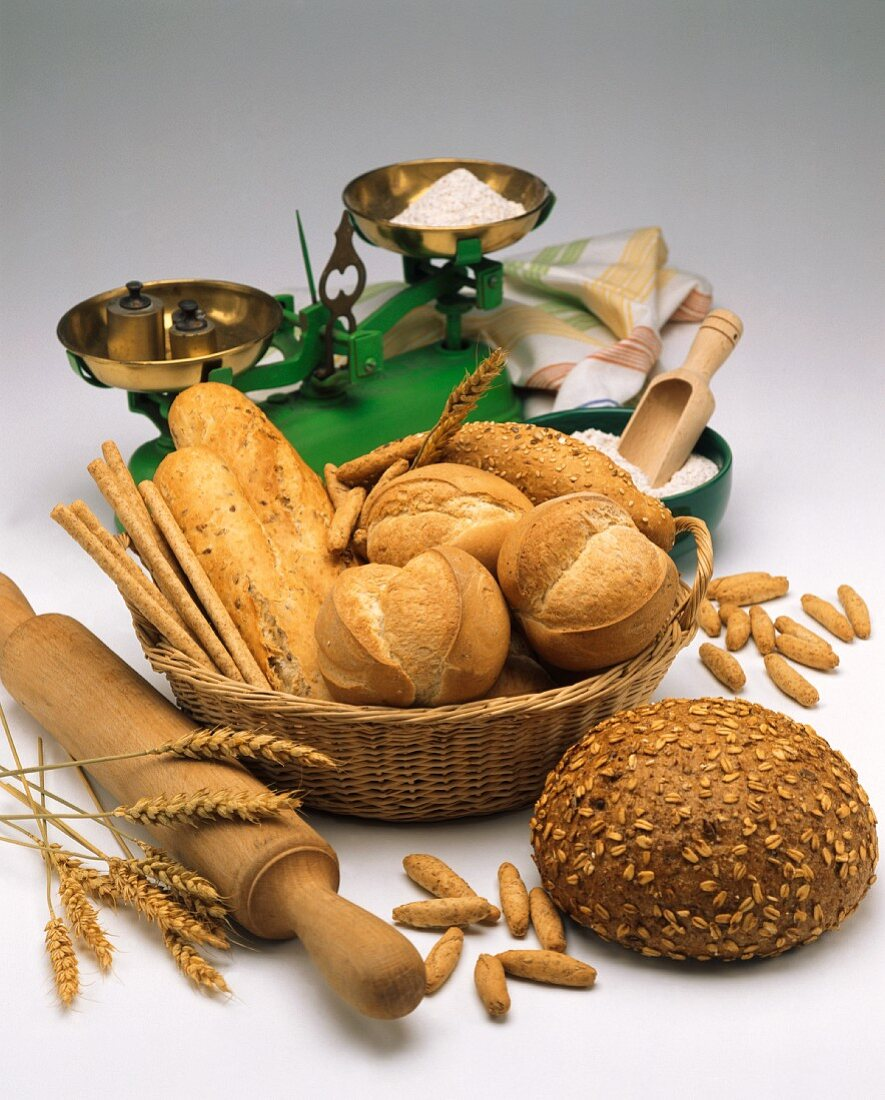 Assorted types of bread in a bread basket