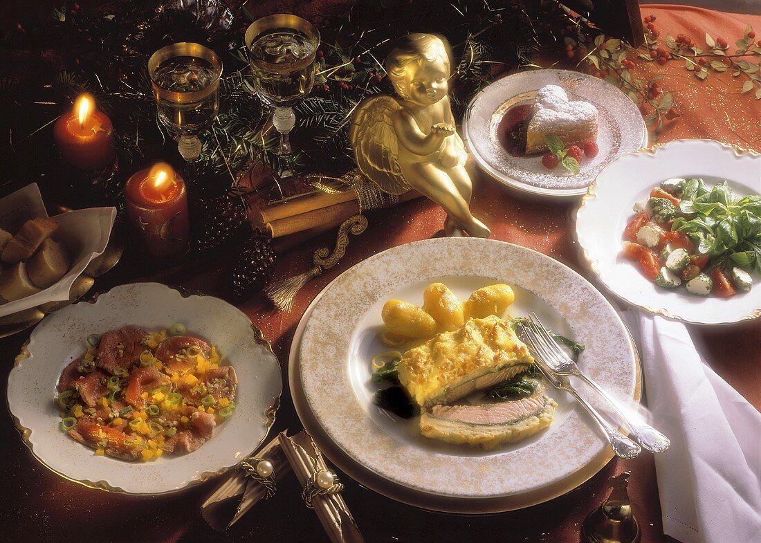 Corn salad; Carpaccio; Salmon & hearts