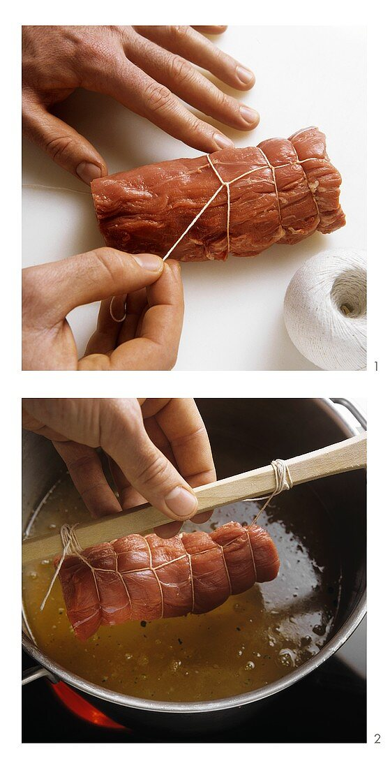 Tying and cooking meat parcels