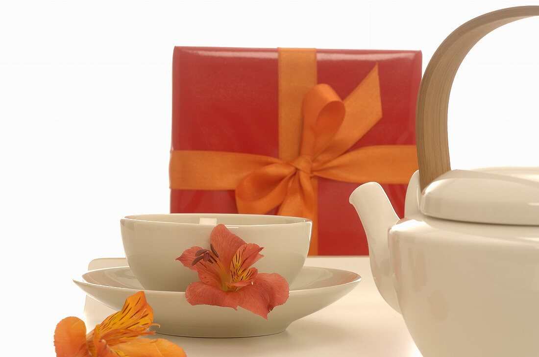 Tea things and gift