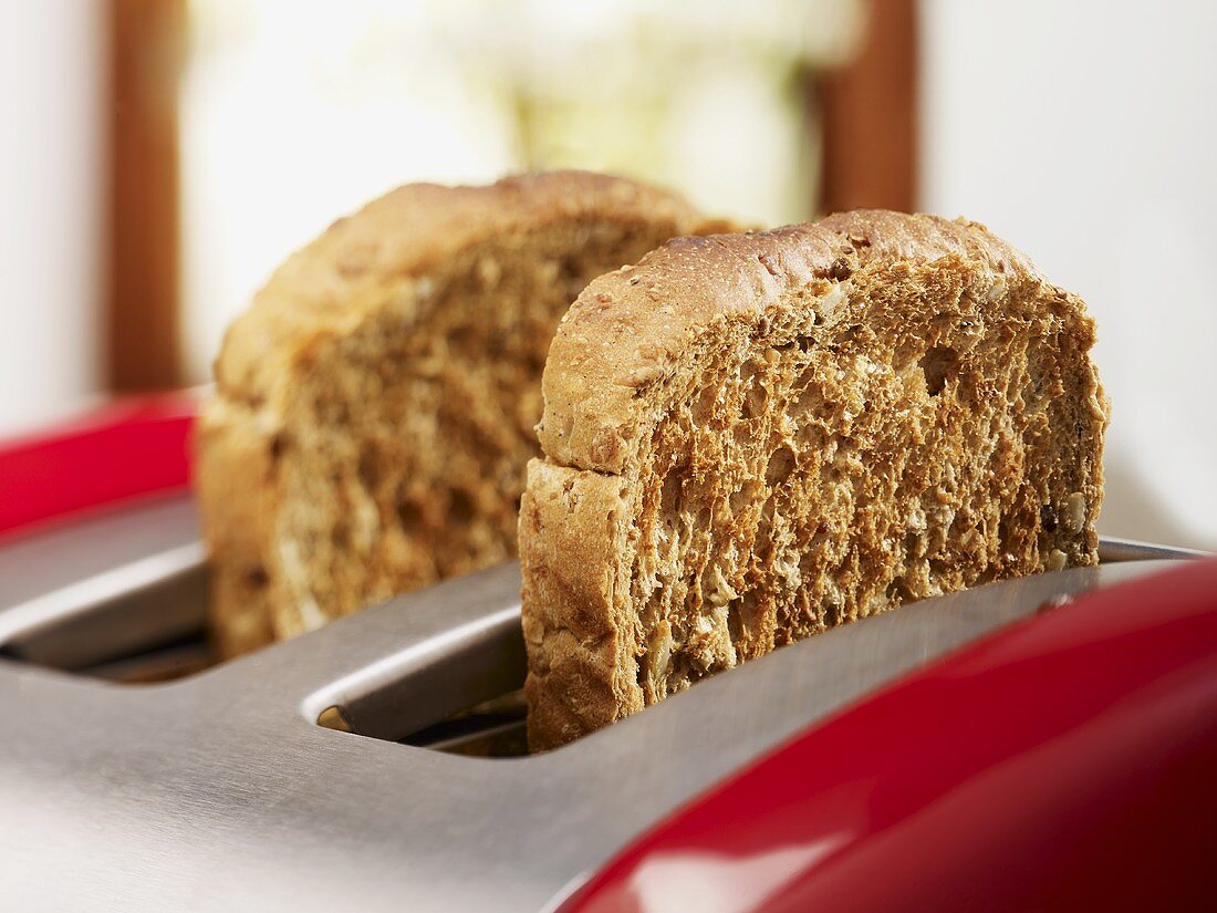 Slices of wholemeal toast in toaster
