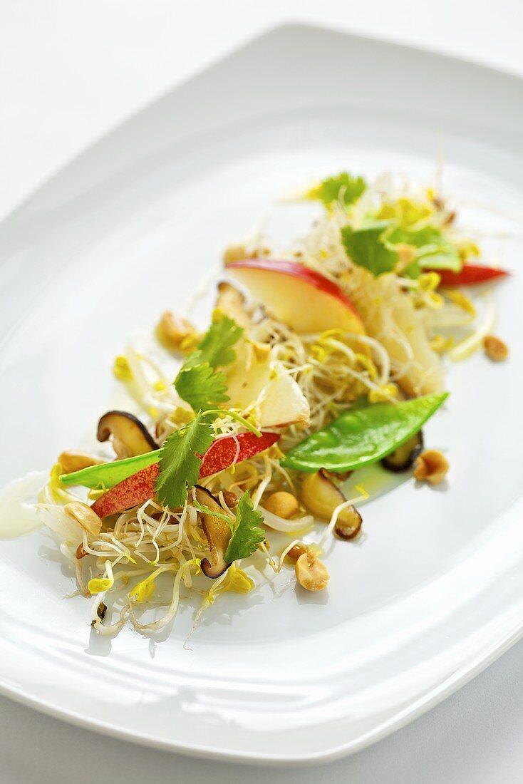 Sprout, mangetout and apple salad