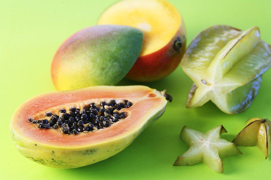 Papaya, mango and starfruit (to regulate the acid-base balance)