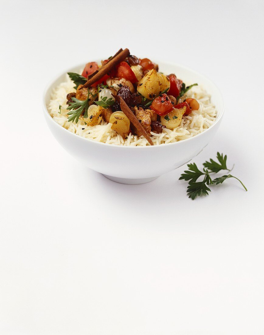 Indian chicken dish on rice