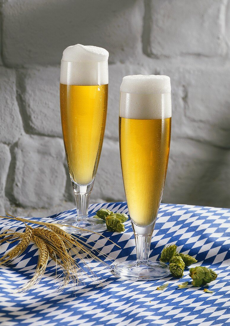 Two glasses of pils on blue and white tablecloth