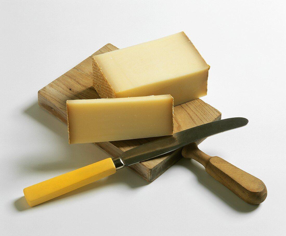 Bergkäse (Alpine cheese) on wooden board
