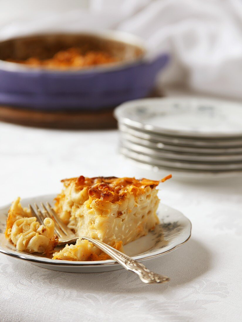 Slice of Baked Macaroni and Cheese on a Plate