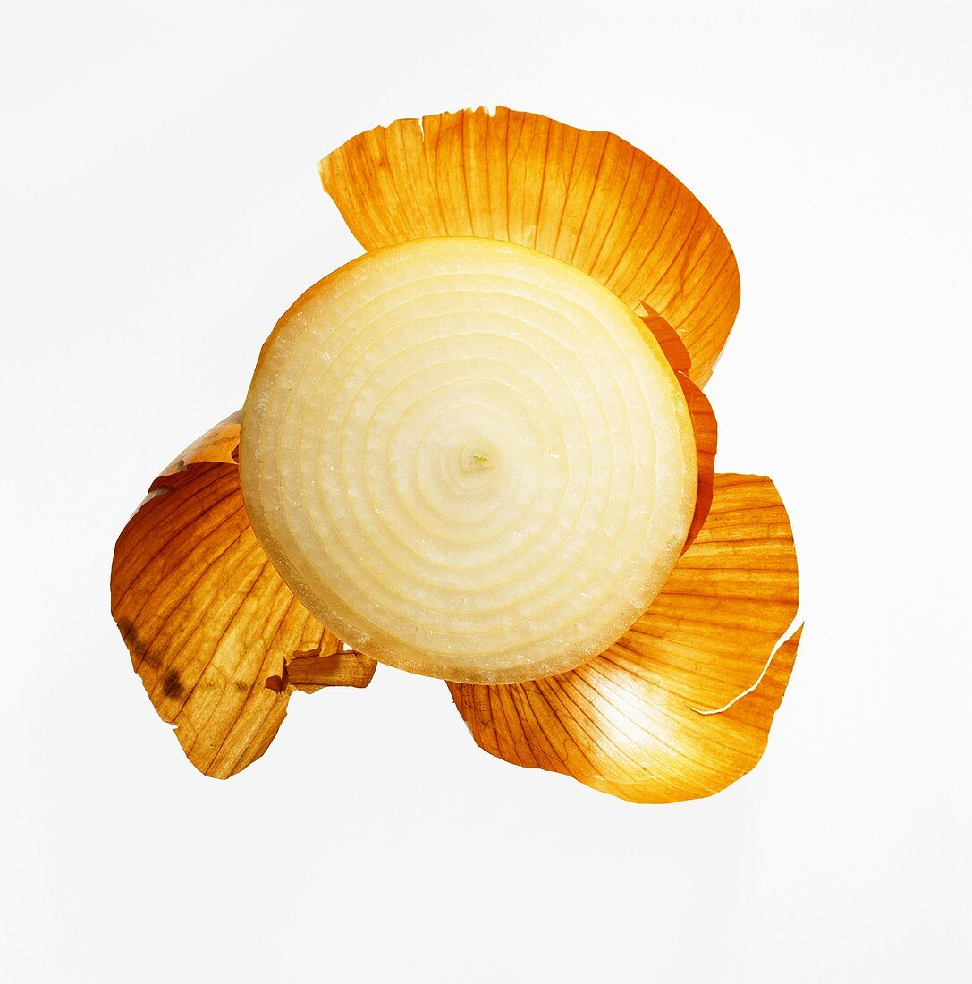 Slice of Yellow Onion with Peel; White Background