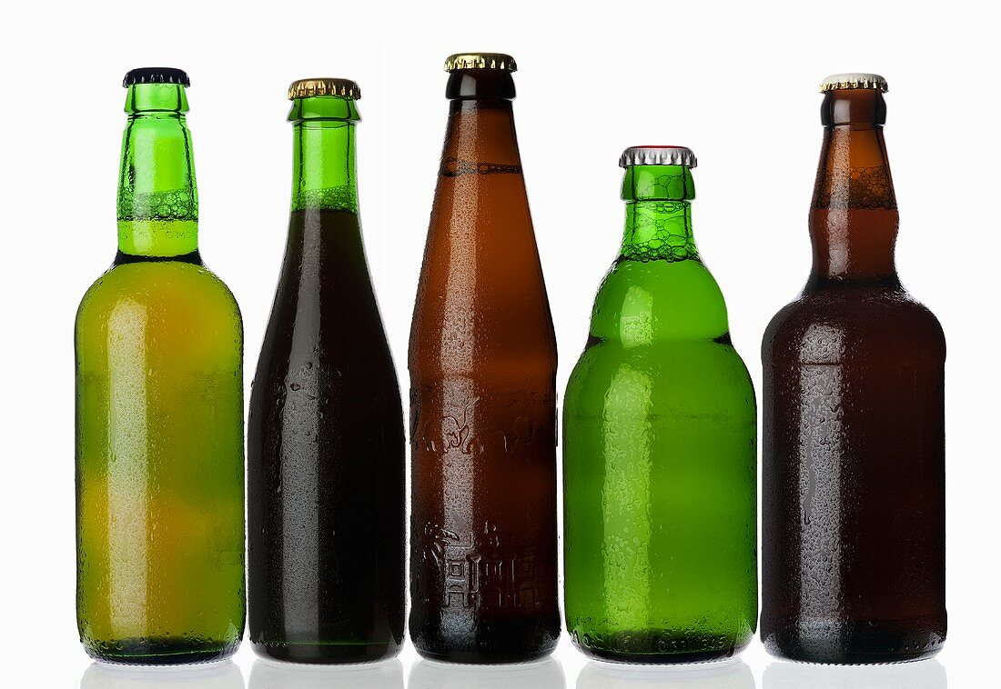 Various types of beer in bottles standing in a row