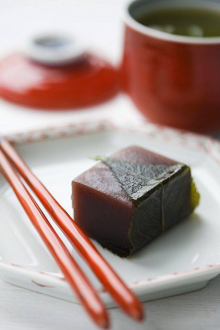 Chestnut wagashi with shiso leaf (Sweet, Japan)