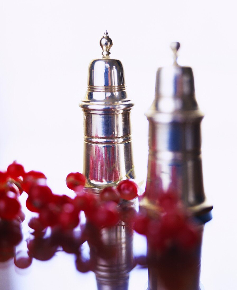 Redcurrants in front of salt and pepper shakers