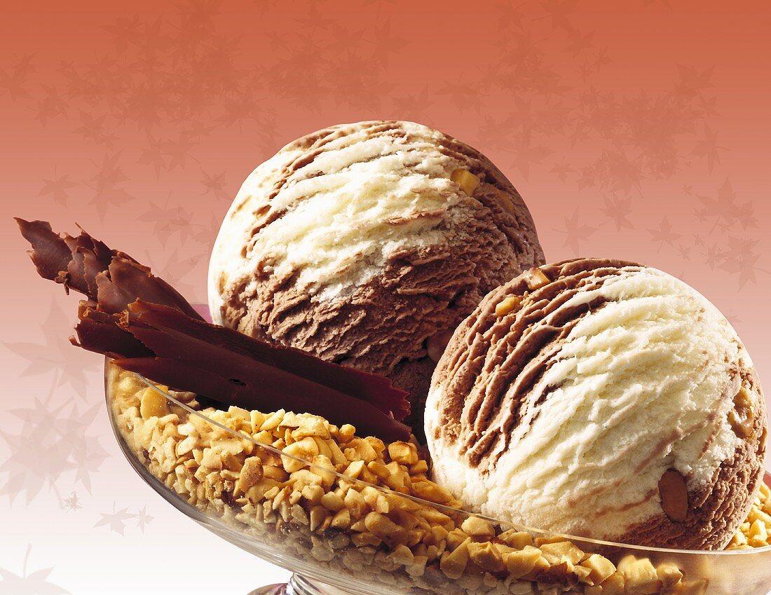 Chocolate hazelnut ice cream, close-up