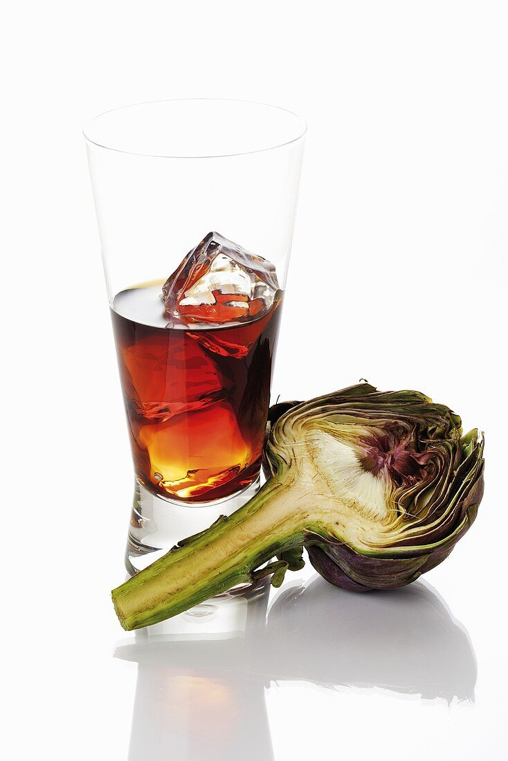 Cynar (artichoke liqueur) and half an artichoke