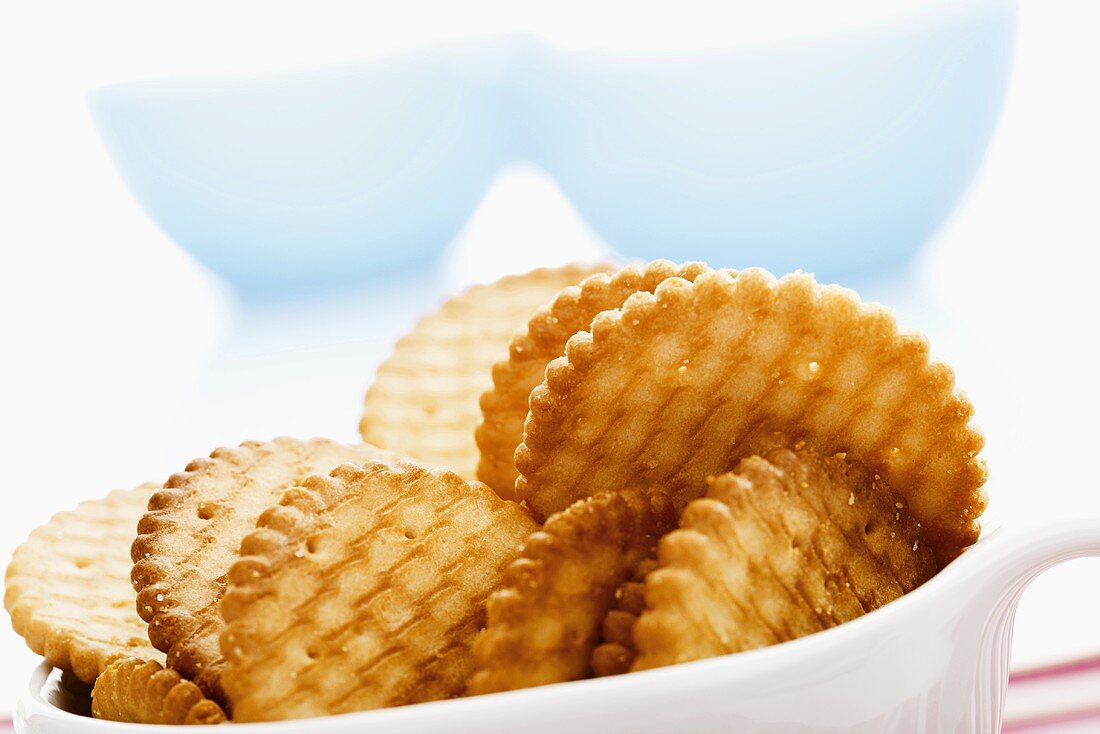 Several crackers in bowl