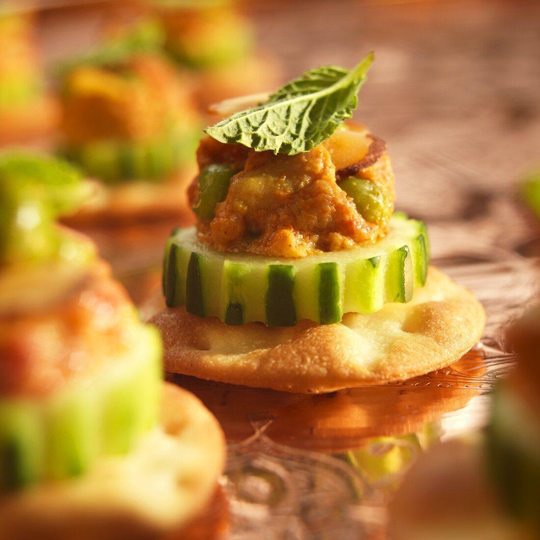 Chicken Tikka Amuse Bouche on Cucumber and Cracker