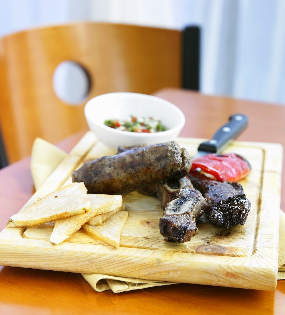 Argentinian Steak with Grilled Red Pepper and Chimichurri Sauce