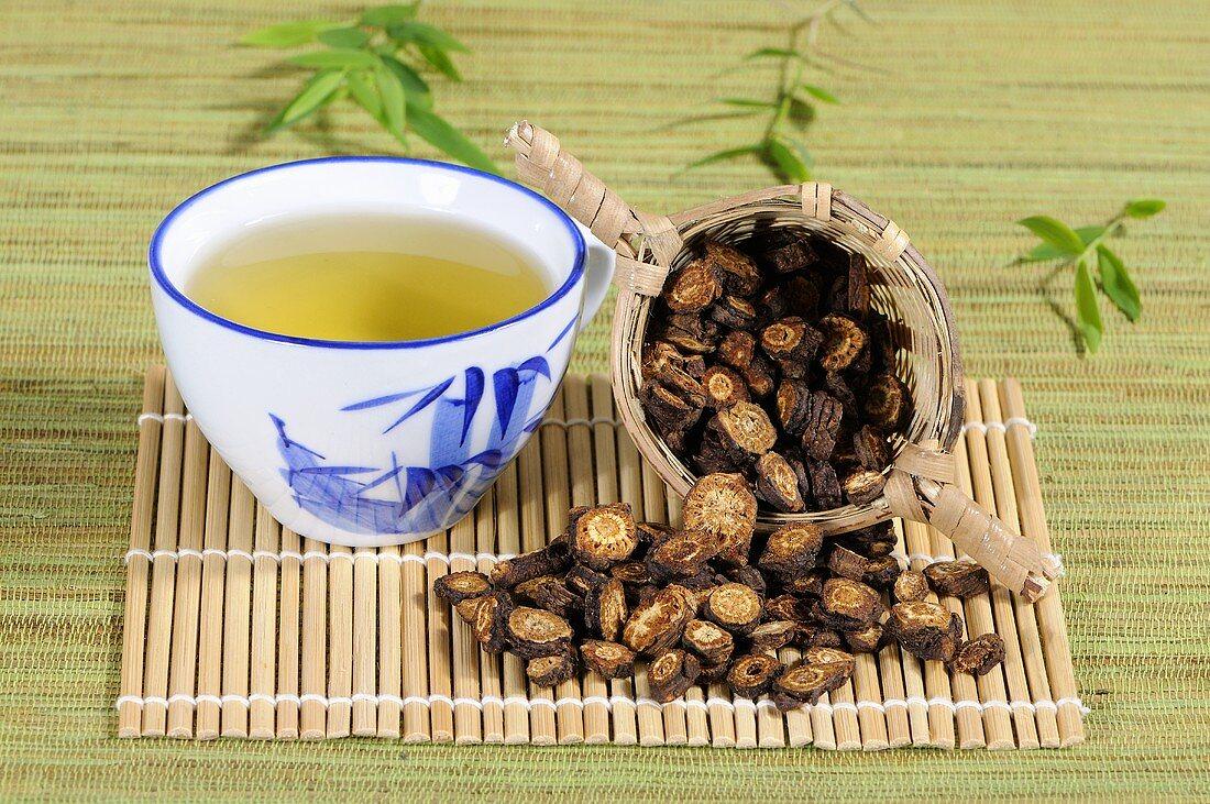 Cup of Notopterygium root tea (Qiang Hua, China)
