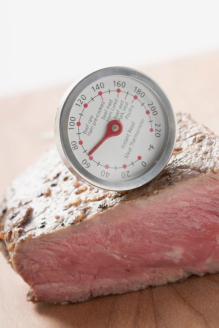 Sirloin strip steak with meat thermometer