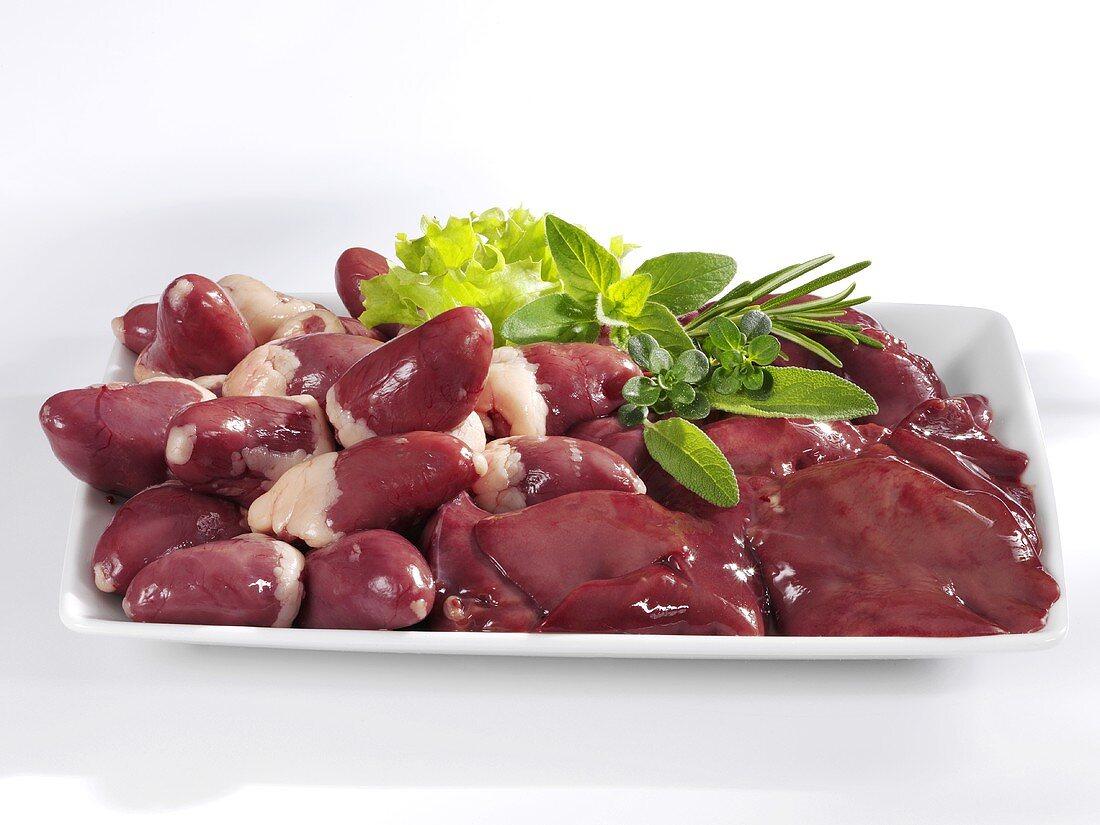 Fresh chicken hearts and chicken livers