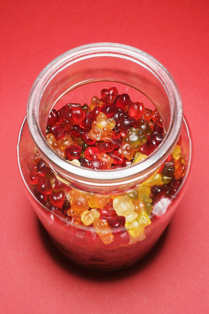 Gummi bears in storage jar